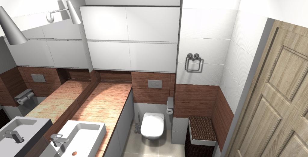 Projekt łazienki z gresem drewnopodobnym