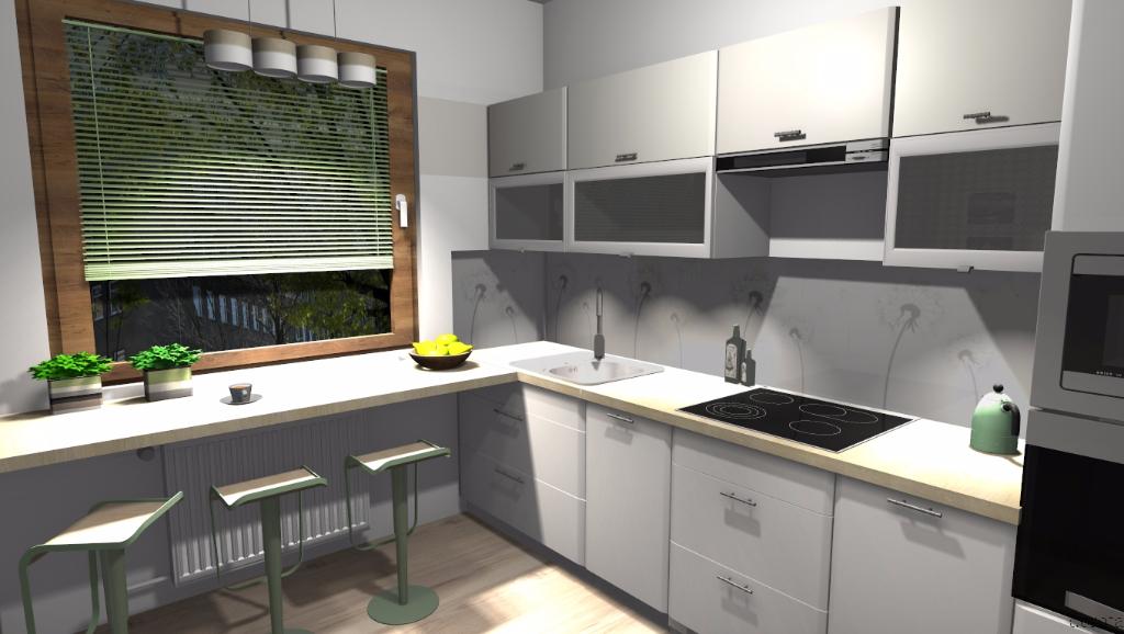 Kuchnia  Niebieska Komoda  projektowanie wnętrz -> Kuchnia Kremowa Z Szarym Blatem