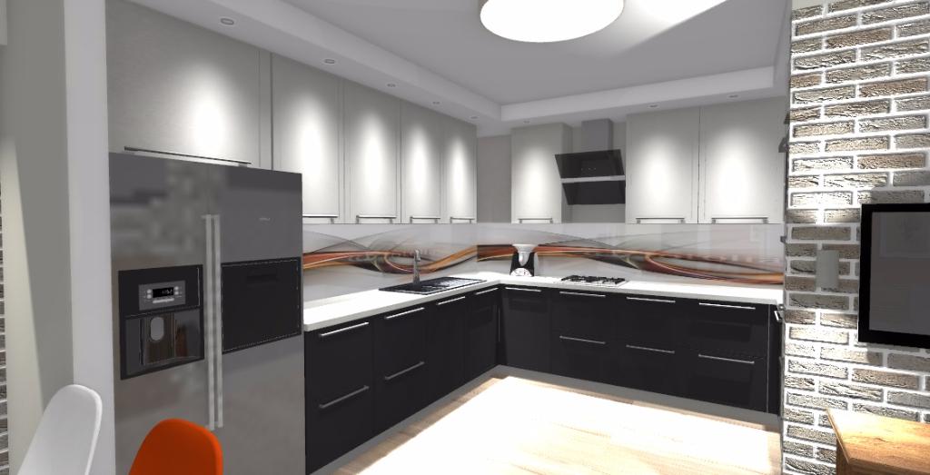 Projekt niewielkiej kuchni  Niebieska Komoda