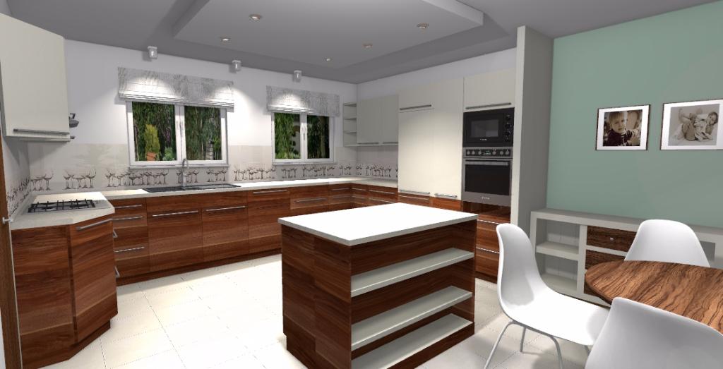 Projekt klasycznej kuchni w domu jednorodzinnym