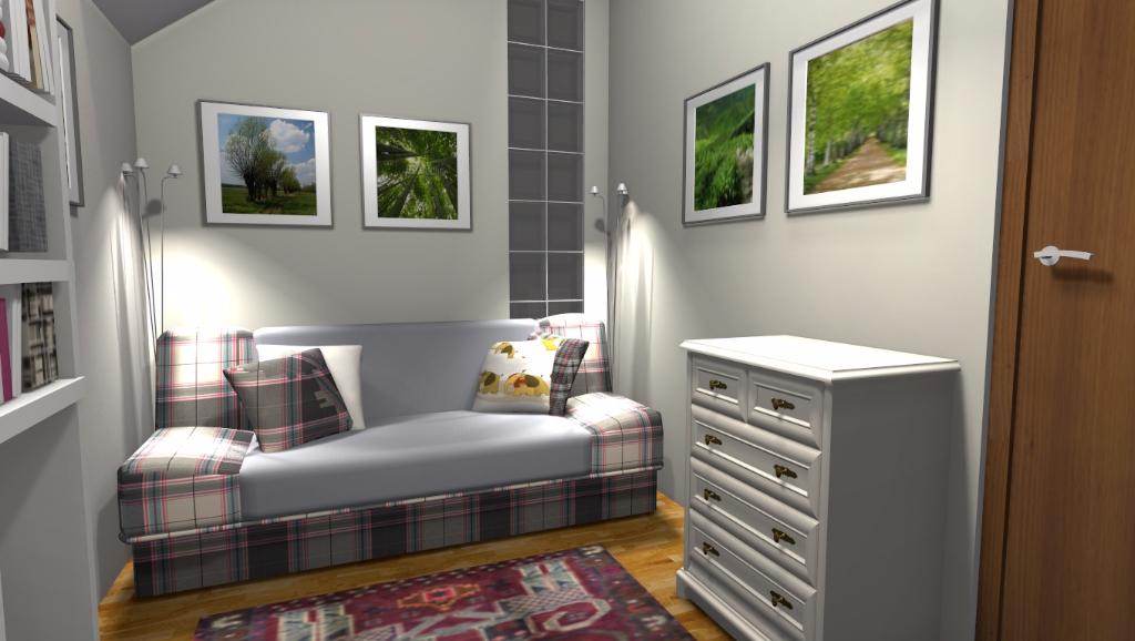 Sypialnia W Kawalerce Niebieska Komoda Projektowanie Wnętrz