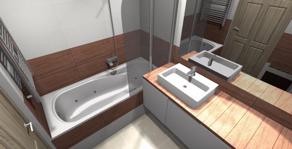 łazienka z gresem drewnopodobnym