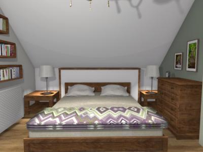 Klasyczna sypialnia na poddaszu