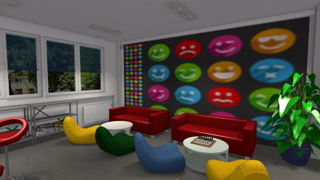Kolorowy korytarz szkolny