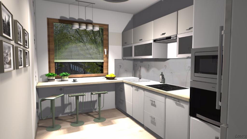 Kuchnia z drewnianym blatem  Niebieska Komoda  projektowanie wnętrz -> Kuchnia Kremowa Z Szarym Blatem