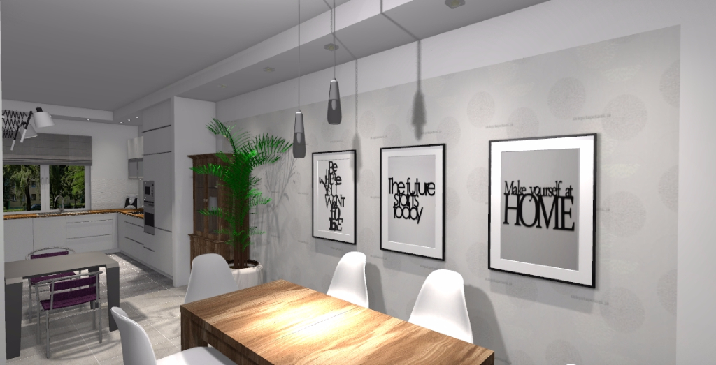 Kuchnia z jadalnią oraz salonem  Niebieska Komoda  projektowanie wnętrz