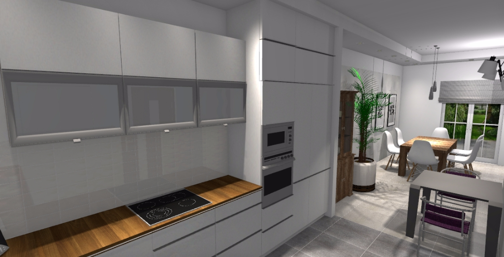 Kuchnia z jadalnią oraz salonem  Niebieska Komoda   -> Klasyczna Kuchnia Z Jadalnią