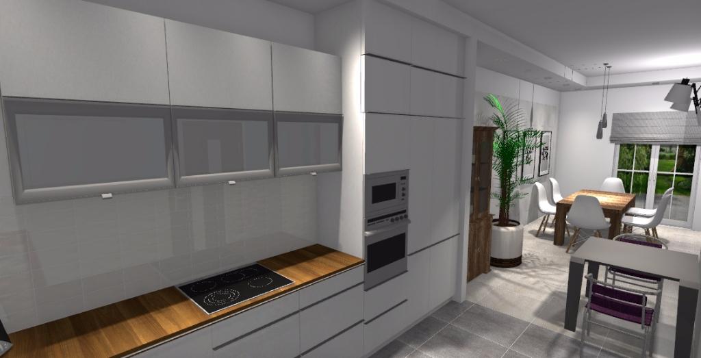 Kuchnia z jadalni oraz salonem niebieska komoda for Projekty kuchni z salonem