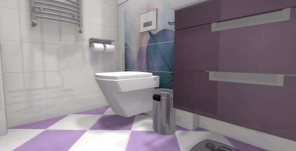 Modna łazienka z fioletem