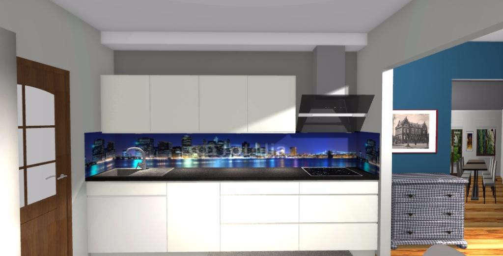 Projekt Nowoczesnej Kuchni Niebieska Komoda Projektowanie Wnetrz