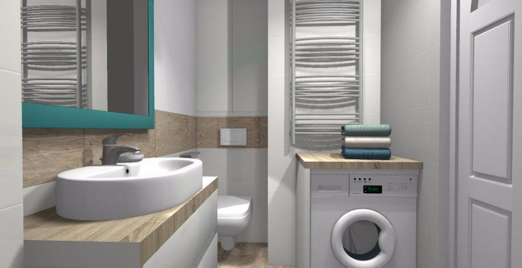 łazienka Z Gresem Drewnopodobnym Niebieska Komoda