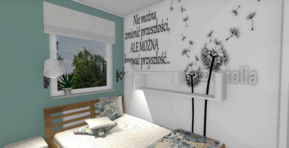 Naklejka Na ścianie Sypialni Niebieska Komoda