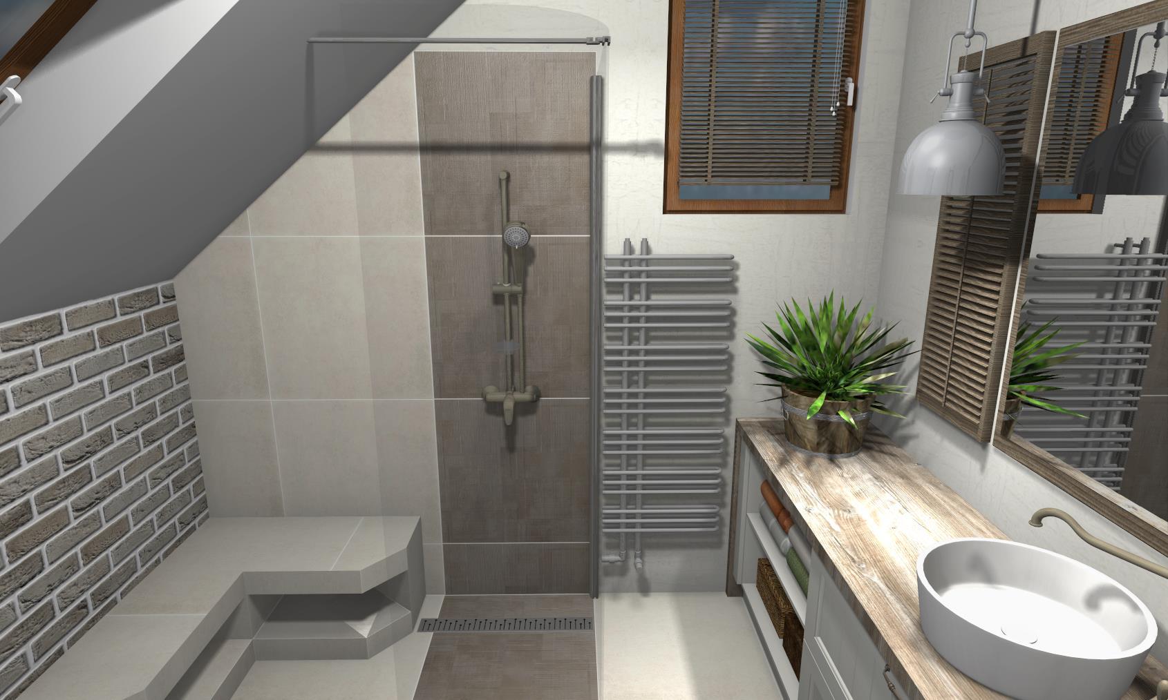 łazienka rustykalna w domu jednorodzinnym