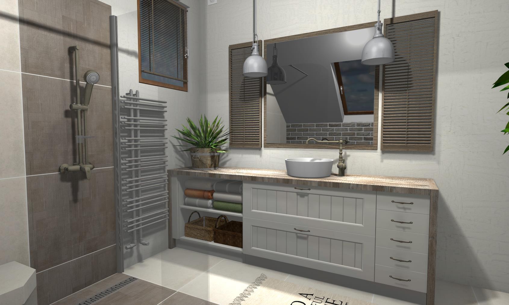 łazienka Rustykalna Niebieska Komoda Projektowanie Wnętrz
