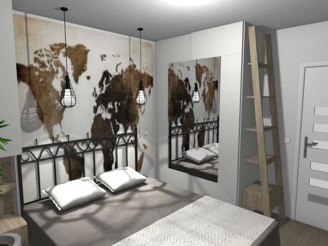 Sypialnia z miejscem do pracy z fototapetą