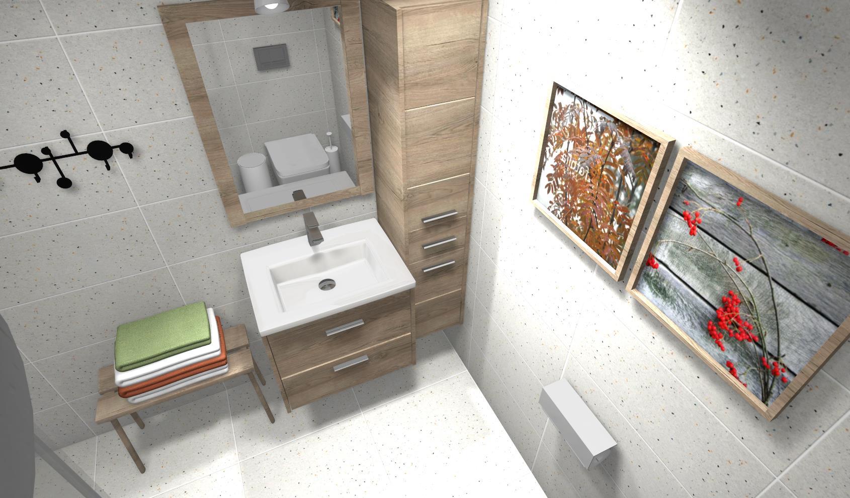szara łazienka płytka betonowa w łazience