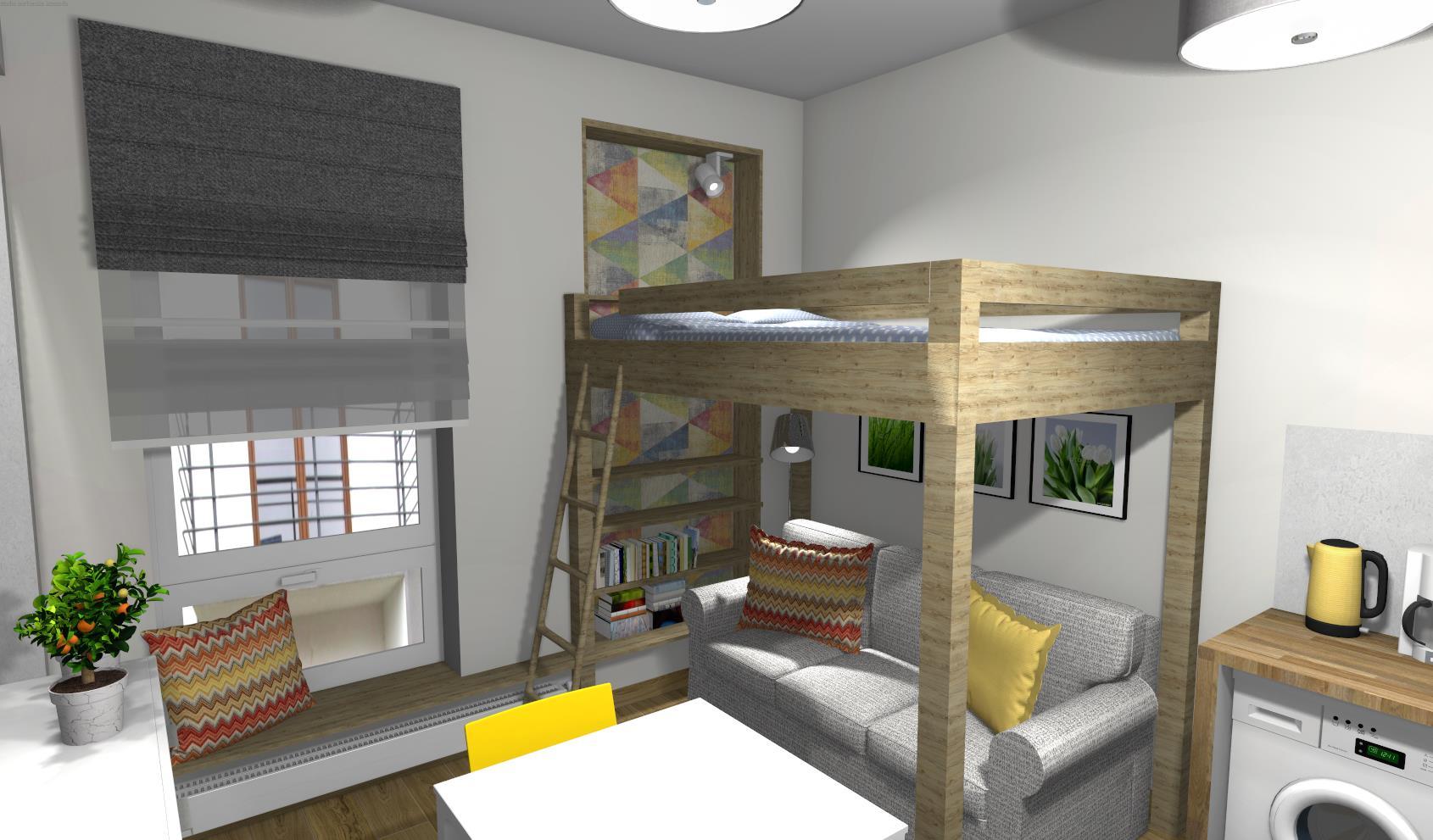 drewniana antresola w salonie