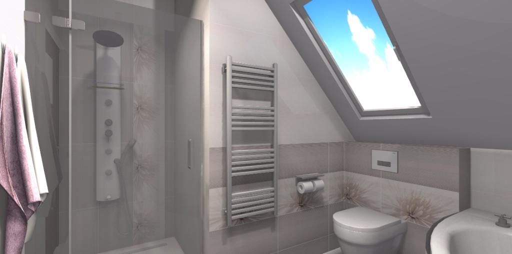 Projekt sypialni na poddaszu - Niebieska Komoda - projektowanie wnętrz