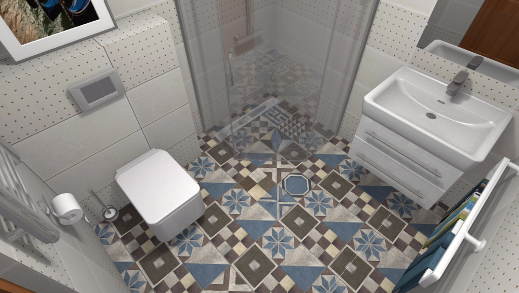 Łazienka w klimacie śródziemnomorskim - Niebieska Komoda - projektowanie wnętrz