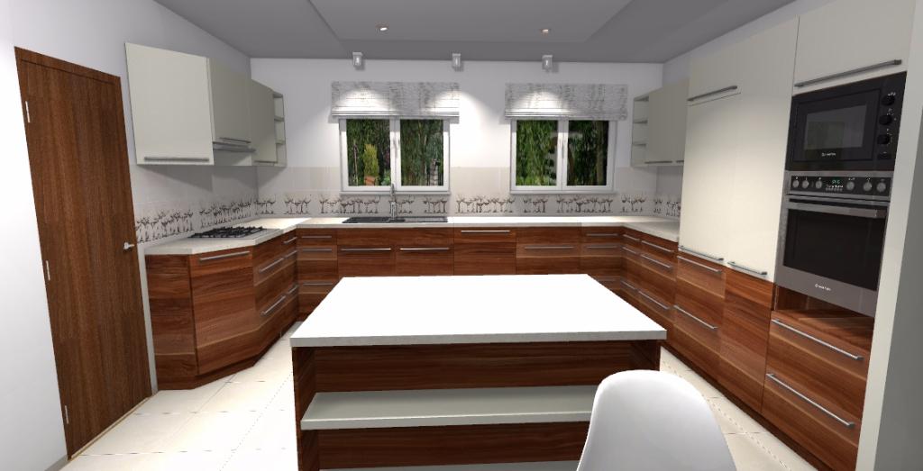 Projekt klasycznej kuchni w domu jednorodzinnym - Niebieska Komoda - projektowanie wnętrz