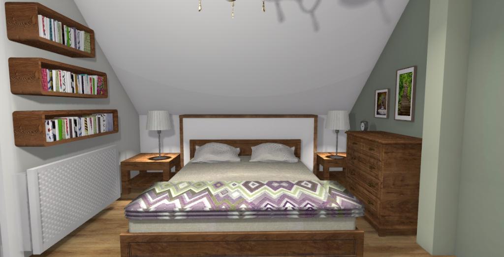 Klasyczna sypialnia na poddaszu - Niebieska Komoda - projektowanie wnętrz