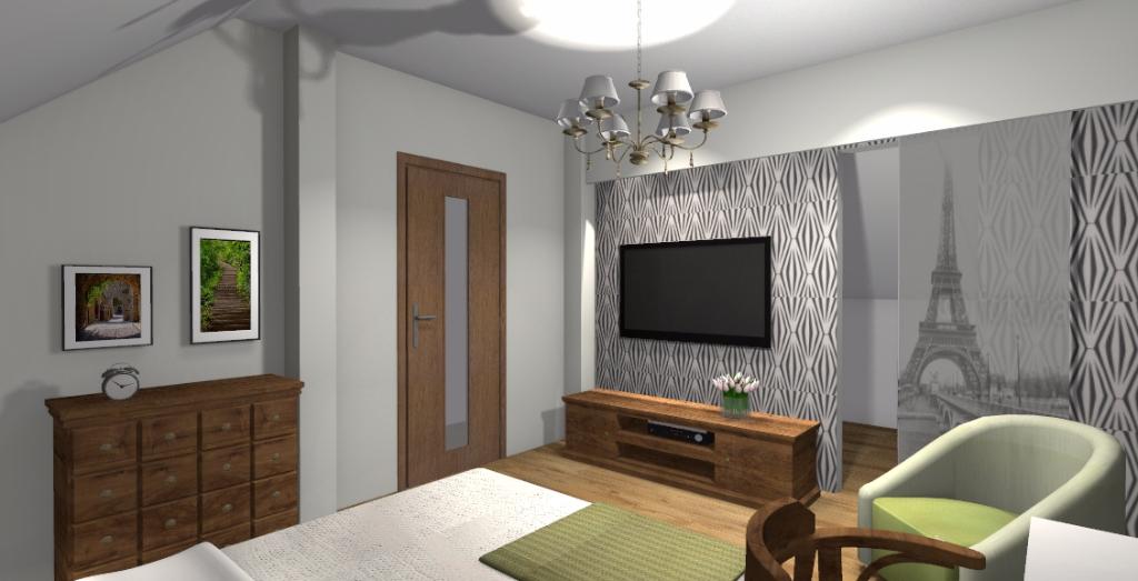 Klasyczna sypialnia z garderobą - Niebieska Komoda - projektowanie wnętrz
