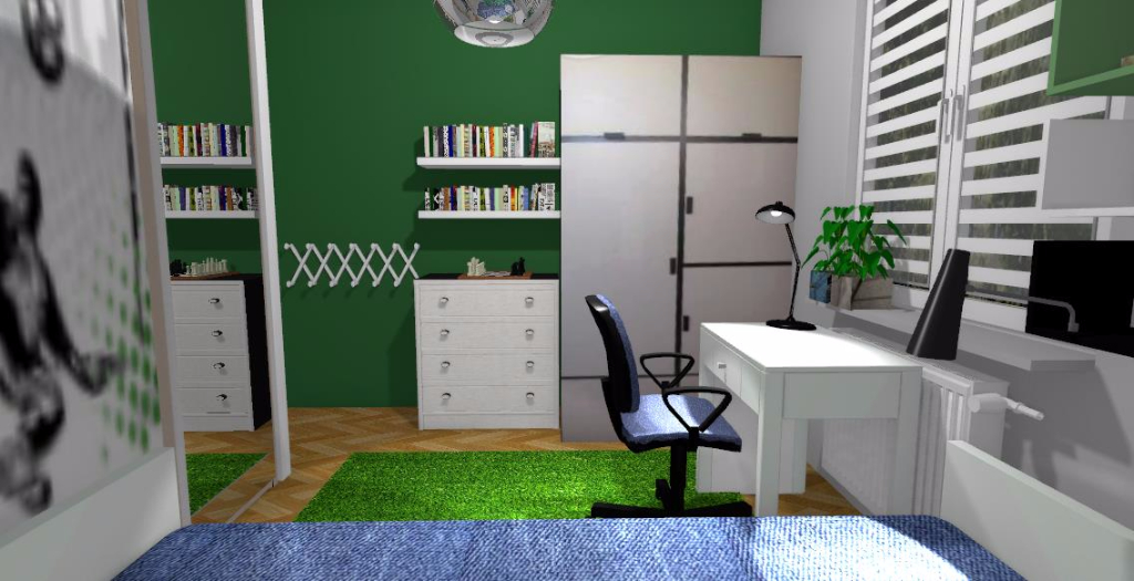 Pokój dla chłopca-piłkarza - Niebieska Komoda - projektowanie wnętrz