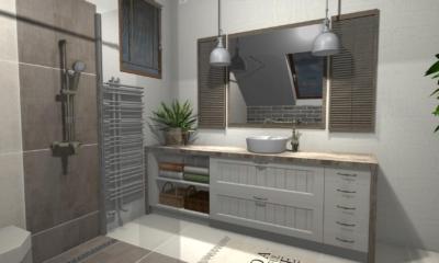 Projekt łazienki w stylu rustykalnym