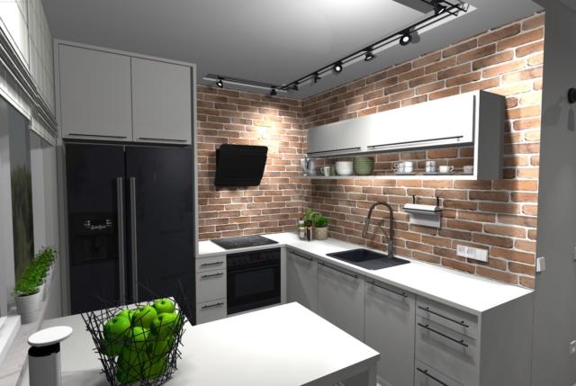 Ceglana ściana w kuchni
