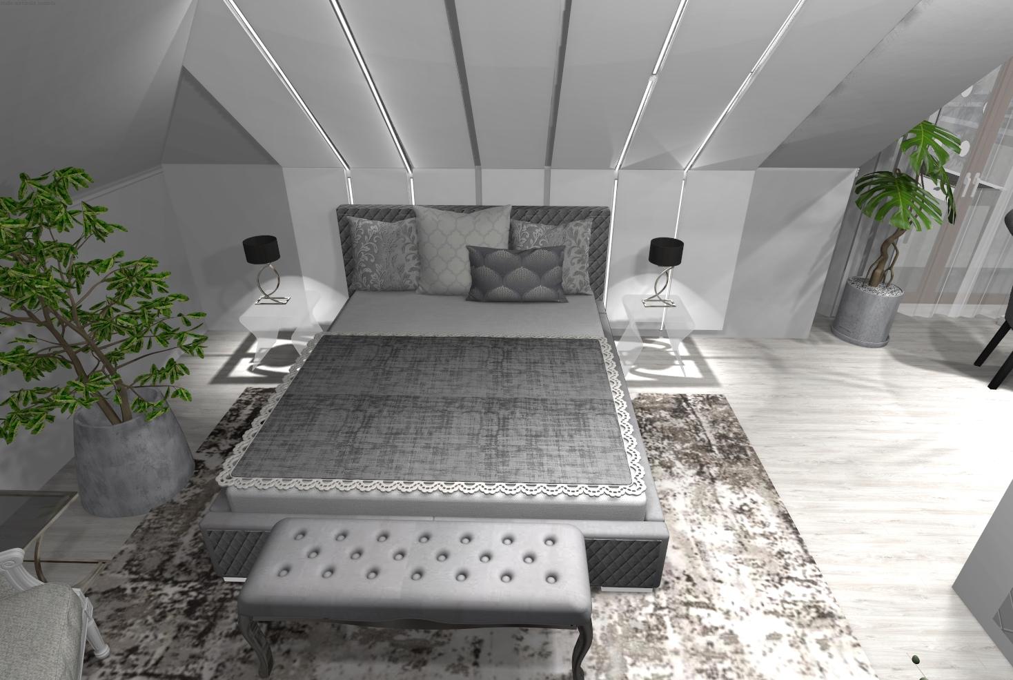 Jasna sypialnia na poddaszu