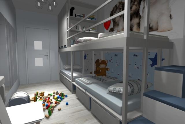 Wąski pokój dla trójki dzieci